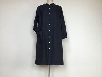 大島紬のワンピース    スタンドカラー   着物リメイクの画像