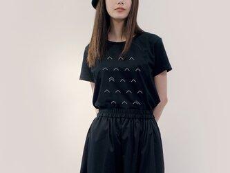 ★大人のPOPなTシャツ★黒×グレー 波 ●POMPON-NAMI-NIGHT×CLOUD●MまたはLサイズの画像