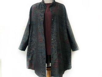 着物リメイクシャツチュニック  大島紬リメイクビッグシルエットシャツの画像