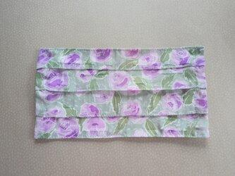プリーツマスクカバー 淡い紫のお花の画像