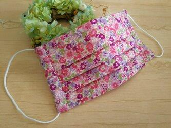 【送料無料】 さらっと涼しい綿ローン花柄プリーツマスク ノーズワイヤー入りの画像