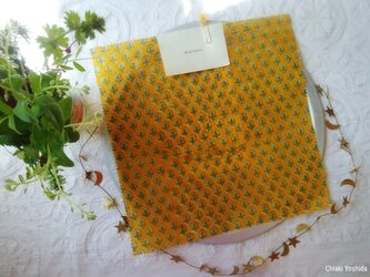 みつろうエコラップ 四角L:黄色 花柄<インド綿100% ブロックプリント>の画像