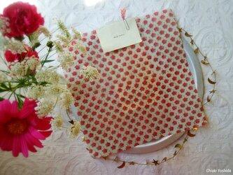 みつろうエコラップ 四角L:ピンク色 花柄<インド綿100% ブロックプリント>の画像