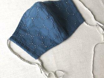 レース立体マスク★ネイビー★(ノーズワイヤーポケット、フィルターポケット付き) 大人Mサイズの画像