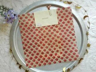 みつろうエコラップ 四角M:ピンク色 花柄<インド綿100% ブロックプリント>の画像