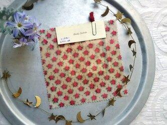 みつろうエコラップ 四角S:ピンク色 花柄 <インド綿100% ブロックプリント>の画像