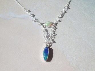 オパール*sv925* Grand Blue Opal with Herkimer Quartz Necklaceの画像