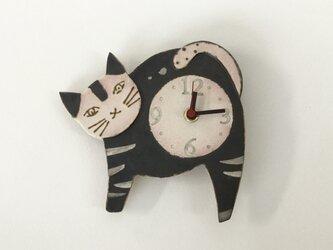 ねこ 掛け時計 (陶器)の画像
