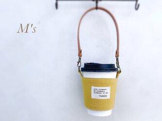 【マスタード】夏 お洒落に可愛く持ち歩き♪M'sのドリンクホルダー(持ち手付き)選べるサイズの画像