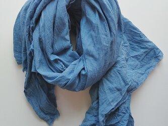 ふんわり♪コットン100% インド藍染めストール 大判 草木染めの画像