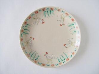 6寸皿(ニワトリと花)の画像