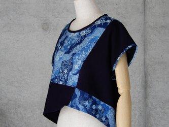 着物リメイク 藍染木綿/Aラインのブラウス/重ね着/M〜Lの画像
