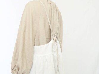 リバーシブル♡リネン大人のサスペンダースカート♡生成り&ホワイト♪レアの画像