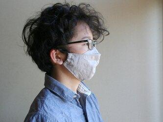 【size M】めがねが曇らない リネンのマスク【グレージュ】Pure linen face maskの画像