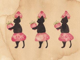 「黒猫堂のストロベリーラテ」ポストカード2枚セットの画像