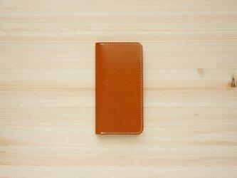 牛革 iPhoneSE2 カバー  ヌメ革  レザーケース  手帳型  キャメルカラーの画像