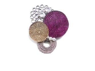 フレンチボタンのブローチ(ピンク&ゴールド)の画像