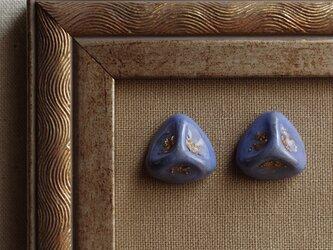 『藤色の三角形』耳飾り ピアス/イヤリング くすみ ノスタルジー ヴィンテージ f-74の画像