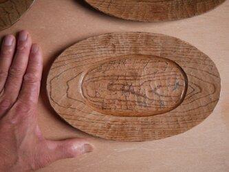 オーバル皿227x145 白茶 せん #0234の画像
