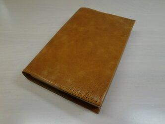 ゴートスキン・文庫本サイズ・オレンジブラウン・スムース・一枚革のブックカバー0491の画像