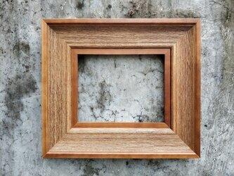 受注生産 職人手作り フレーム 木製額縁 アンティーク 無垢材 ナチュラル 天然木 チーク材 木目 木工 おしゃれ 雑貨の画像