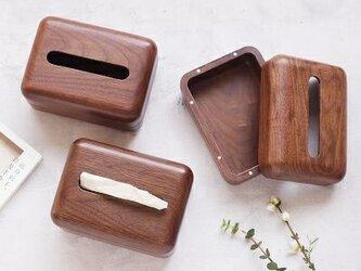 受注生産 職人手作り 木製 ティッシュケース ティッシュボックス ウォールナット 無垢材 天然木 シンプル エコ 木目の画像