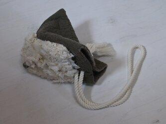手織り布付き wool と cottonでつくられた 3way テトラbag 3.の画像