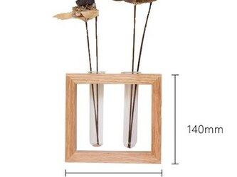 受注生産 職人手作り 壁掛け 一輪挿し インテリア モダン 木製 木目 木工 天然木 無垢材 オーク エコ 北欧 お洒落の画像