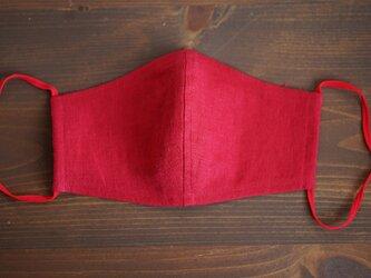 【レッド/立体マスク】数量限定! リネンマスク 2重仕様 リネン100% 抗菌 防臭 速乾 /z021g-red2の画像