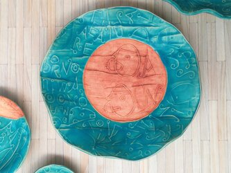 明るく、楽しく、美味しく! トルコマット 大皿2 ターコイズブルーの画像