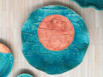 明るく、楽しく、美味しく! トルコマット 大皿5 ターコイズブルーの画像