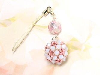 ホタル玉ビーズボールストラップ*白ピンクの画像