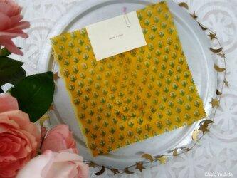みつろうエコラップ 四角M:黄色 花柄<インド綿100% ブロックプリント>の画像