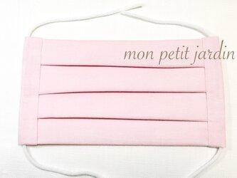 シンプル ピンク プリーツマスク(ゴム付き)の画像