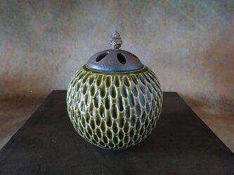 緑釉香炉・ポプリケース1の画像