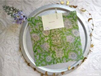 みつろうエコラップ 四角M:緑色 花柄<インド綿100% ブロックプリント>の画像