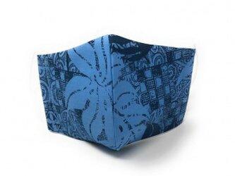 ハワイアン ファブリック ファッション・3Dマスク(扇型) カヒコ ブルー Lサイズ[mfm3Q-fb018L]の画像