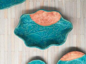 明るく、楽しく、美味しく!トルコマット楕円皿1 ターコイズブルーの画像