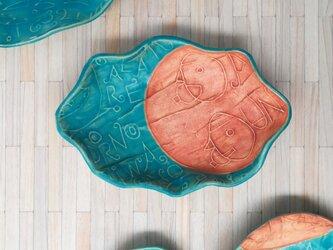 明るく、楽しく、美味しく!トルコマット楕円皿2 ターコイズブルーの画像