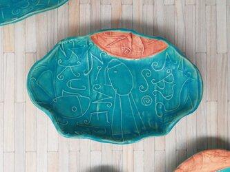 明るく、楽しく、美味しく!トルコマット楕円皿5 ターコイズブルーの画像