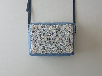 antique france lace shoulder bag (blue)の画像