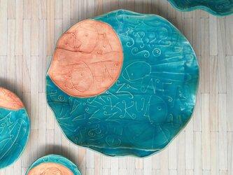 明るく、楽しく、美味しく! トルコマット 大皿8 ターコイズブルーの画像