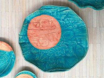 明るく、楽しく、美味しく!トルコマット大皿9 ターコイズブルーの画像