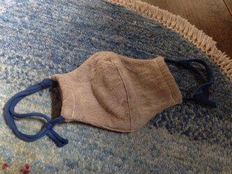 麻炭染め+藍染めオーガニックコットンマスクの画像