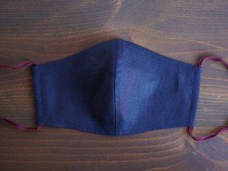 【オリエンタルブルー/立体マスク】数量限定! 夏向き 薄手 リネンマスク 抗菌 防臭 速乾 【ネコポス可】z021g-obn1の画像
