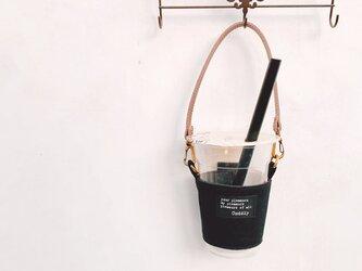 【ブラック】夏 お洒落に可愛く持ち歩き♪M'sのドリンクホルダー(持ち手付き)リューザブルカップの画像