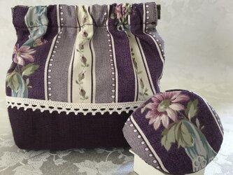 バネポーチと小物入れのセット ストライプ フラワー 紫の画像