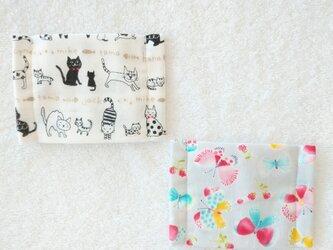 Wガーゼのキッズマスク2枚セット  猫&蝶々の画像