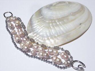 大粒ツインバロック淡水真珠の4連ブレスレットの画像