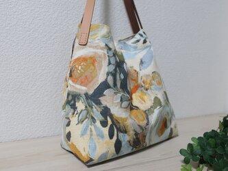 再販イギリス花柄リネン混生地タックトートバックの画像